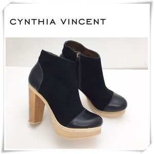 Cynthia Vincent Harper Suede Wool Ankle Boot Black